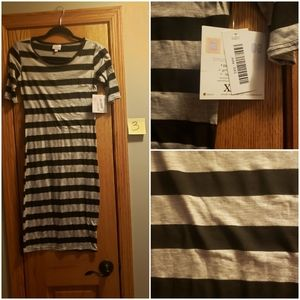 XXS Julia Black and Gray stripes nwt